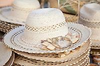 Cuba, Trinidad.  Straw Hats for Sale in Handicrafts Market.