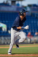 Mobile BayBears Erick Salcedo (13) runs to first base during a Southern League game against the Mobile BayBears on July 25, 2019 at Blue Wahoos Stadium in Pensacola, Florida.  Pensacola defeated Mobile 2-1 in the first game of a doubleheader.  (Mike Janes/Four Seam Images)
