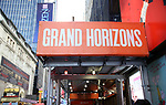 "Theatre Marquee for ""Grand Horizons"" at the Hayes Theatre on December 11, 2019 in New York City."