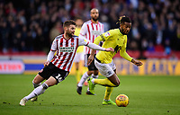 Blackburn Rovers' Kasey Palmer vies for possession with Sheffield United's Oliver Norwood<br /> <br /> Photographer Chris Vaughan/CameraSport<br /> <br /> The EFL Sky Bet Championship - Sheffield United v Blackburn Rovers - Saturday 29th December 2018 - Bramall Lane - Sheffield<br /> <br /> World Copyright © 2018 CameraSport. All rights reserved. 43 Linden Ave. Countesthorpe. Leicester. England. LE8 5PG - Tel: +44 (0) 116 277 4147 - admin@camerasport.com - www.camerasport.com