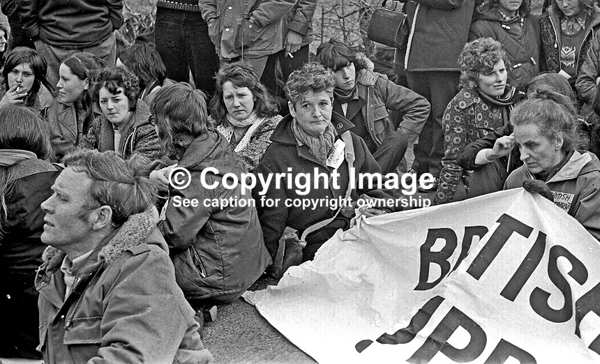Northern Ireland Civil Rights March near Magilligan Prison, Co Londonderry, Saturday, 11th March 1972. Among the marchers was Pat Arrowsmith, co-founder, CND, centre with short hair &amp; holding edge of banner.  197203110110e.<br />