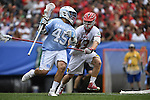 30 MAY 2016: Chris Cloutier (45) of the University of North Carolina against Mac Pons (43) of the University of Maryland during the Division I Men's Lacrosse Championship held at Lincoln Financial Field in Philadelphia, PA. Larry French/NCAA Photos