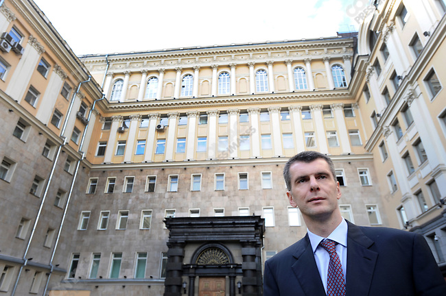 Mikhail Prokhorov, photographed outside his company Onexim's office in downtown Moscow, shortly after he had resigned from the Right Cause political party earlier in the day. Russia, September 15, 2011