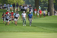 Jason Day (AUS) and Tiger Woods (USA) head down 12 during 1st round of the World Golf Championships - Bridgestone Invitational, at the Firestone Country Club, Akron, Ohio. 8/2/2018.<br /> Picture: Golffile | Ken Murray<br /> <br /> <br /> All photo usage must carry mandatory copyright credit (&copy; Golffile | Ken Murray)