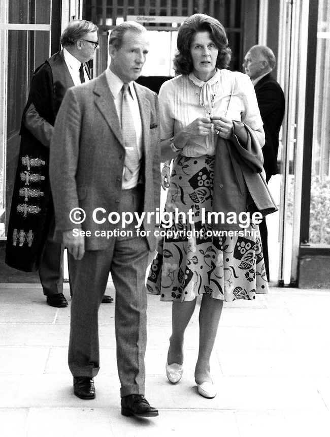 Commander Peter Campbell with his wife Lady Moyra Campbell at summer graduations New University of Ulster, Coleraine, N Ireland, July 1982. Lady Moyra, a sister of the 5th Duke of Abercorn, was one of the Ladies in Waiting at the Coronation of Queen Elizabeth II. 19820700104PC.<br />