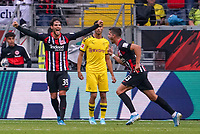celebrate the goal, Torjubel zum 1:1 Ausgleich  Andre Silva (Eintracht Frankfurt) mit Goncalo Paciencia (Eintracht Frankfurt) - 22.09.2019: Eintracht Frankfurt vs. Borussia Dortmund, Commerzbank Arena, 5. Spieltag<br /> DISCLAIMER: DFL regulations prohibit any use of photographs as image sequences and/or quasi-video.