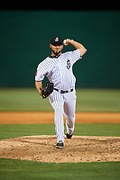 Jackson Generals relief pitcher Gabriel Moya (17) delivers a pitch during a game against the Chattanooga Lookouts on April 29, 2017 at The Ballpark at Jackson in Jackson, Tennessee.  Jackson defeated Chattanooga 7-4.  (Mike Janes/Four Seam Images)