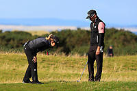 Rafa Cabrera Bello (ESP) with a referee on the 17th during Round 3 of the Alfred Dunhill Links Championship 2019 at St. Andrews Golf CLub, Fife, Scotland. 28/09/2019.<br /> Picture Thos Caffrey / Golffile.ie<br /> <br /> All photo usage must carry mandatory copyright credit (© Golffile | Thos Caffrey)