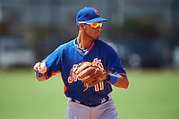 GCL Mets third baseman Rigoberto Terrazas (11) throws to first during the first game of a doubleheader against the GCL Astros on August 5, 2016 at Osceola County Stadium Complex in Kissimmee, Florida.  GCL Astros defeated the GCL Mets 4-1 in the continuation of a game started on July 21st and postponed due to inclement weather.  (Mike Janes/Four Seam Images)