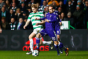 5th December 2017; Glasgow, Scotland; Sven Kums midfielder of RSC Anderlecht challenged by Armstrong during the Champions League Group B match between Celtic FC and Rsc Anderlecht