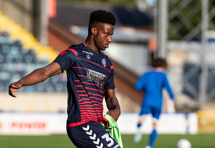 Bolton Wanderers' De'Marlio Brown-Sterling warming up before the match <br /> <br /> Photographer Andrew Kearns/CameraSport<br /> <br /> The Carabao Cup First Round - Rochdale v Bolton Wanderers - Tuesday 13th August 2019 - Spotland Stadium - Rochdale<br />  <br /> World Copyright © 2019 CameraSport. All rights reserved. 43 Linden Ave. Countesthorpe. Leicester. England. LE8 5PG - Tel: +44 (0) 116 277 4147 - admin@camerasport.com - www.camerasport.com