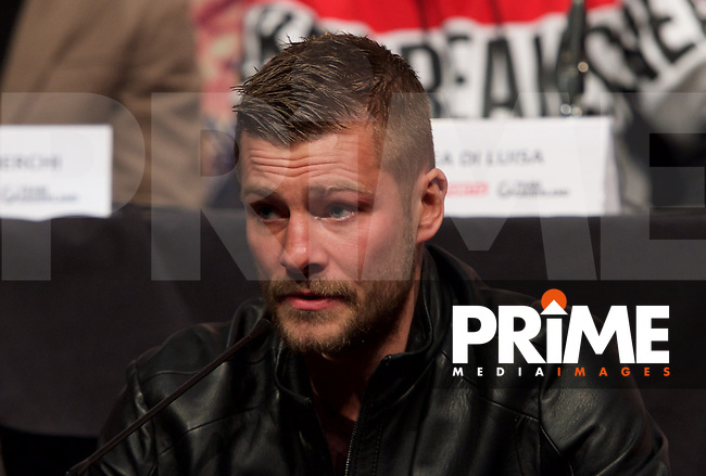 John Wayne Hibbert during the final press conference ahead of the George Groves v Andrea Di Luisa fight set for Saturday 30th January 2016 at the Copper Box, at Stratford Circus, Theatre Square, England on 28 January 2016. Photo by Alan  Stanford/PRiME Media Images.