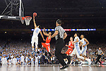 02 APR 2016:  Marcus Paige (5) of the University of North Carolina drives to the hoop against Syracuse University during the NCAA Division I Men's Final Four held at NRG Stadium in Houston, TX.  North Carolina defeated Syracuse 83-66 to advance to the finals.  Jamie Schwaberow/NCAA Photos