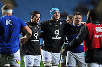Francois Louw, David Denton and David Wilson look on in a pre-match huddle. European Rugby Champions Cup match, between Wasps and Bath Rugby on December 13, 2015 at the Ricoh Arena in Coventry, England. Photo by: Patrick Khachfe / Onside Images