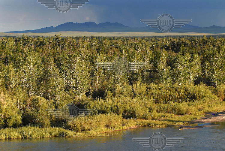 Landscape with the Tes River in the foreground.
