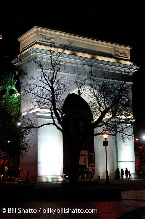 A nighttime view of the arch in New York City's Washington Square Park. The park is currently undergoing an extensive renovation.