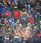 3 January 2010: A Buffalo Bills fans watch a game against the Indianapolis Colts on a cold, snowy, final game of the season at Ralph Wilson Stadium in Orchard Park, New York. The Bills defeated the Colts 30-7. Mandatory Credit: Ed Wolfstein Photo