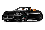 Stock pictures of low aggressive front three quarter view of 2019 Maserati Gran-Cabrio Sport 2 Door Convertible Low Aggressive