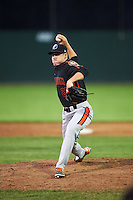 Aberdeen Ironbirds relief pitcher Lucas Brown (21) delivers a pitch during a game against the Batavia Muckdogs on July 16, 2016 at Dwyer Stadium in Batavia, New York.  Aberdeen defeated Batavia 9-0. (Mike Janes/Four Seam Images)