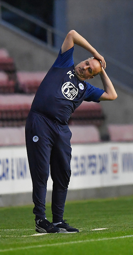 A dejected Wigan Athletic's Manager Paul Cook<br /> <br /> Photographer Dave Howarth/CameraSport<br /> <br /> The EFL Sky Bet Championship - Wigan Athletic v Fulham - Wednesday July 22nd 2020 - DW Stadium - Wigan<br /> <br /> World Copyright © 2020 CameraSport. All rights reserved. 43 Linden Ave. Countesthorpe. Leicester. England. LE8 5PG - Tel: +44 (0) 116 277 4147 - admin@camerasport.com - www.camerasport.com