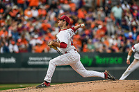 Daniel Lloyd (15) of the South Carolina Gamecocks pitches late in the day in the Reedy River Rivalry game against the Clemson Tigers on Saturday, March 2, 2019, at Fluor Field at the West End in Greenville, South Carolina. Clemson won, 11-5. (Tom Priddy/Four Seam Images)