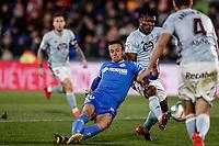 7th March 2020; Coliseum Alfonso Perez, Madrid, Spain; La Liga Football, Club Getafe Club de Futbol versus Celta Vigo; Nemanja Maksimovic (Getafe CF)  finds his way to go blocked