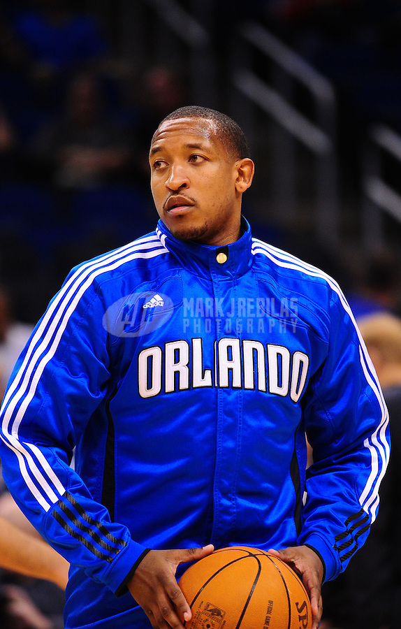 Feb. 11, 2011; Orlando, FL, USA; Orlando Magic guard Chris Duhon (25) before game against the New Orleans Hornets at the Amway Center. The Hornets defeated the Magic 99-93. Mandatory Credit: Mark J. Rebilas-USA TODAY Sports