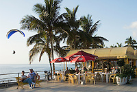 Spain, Canary Islands, La Palma, Puerto Naos: popular resort at the west coast with beach Playa de Puerto Naos, beach restaurant