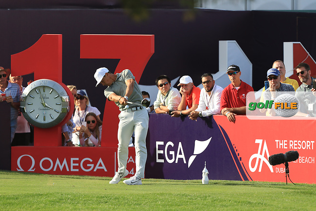 Thorbjorn Olesen (DEN) on the 17th tee during Round 4 of the Omega Dubai Desert Classic, Emirates Golf Club, Dubai,  United Arab Emirates. 27/01/2019<br /> Picture: Golffile | Thos Caffrey<br /> <br /> <br /> All photo usage must carry mandatory copyright credit (© Golffile | Thos Caffrey)