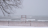 Lifeguard chair during a snow storm woodbine beach toronto ontario canada north america