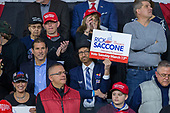 A supporter holds a Rick Saccone, Republican Congressional candidate for Pennsylvania's 18th district, campaign sign during a Make American Great Rally at Atlantic Aviation in Moon Township, Pennsylvania on March 10th, 2018. Credit: Alex Edelman / CNP