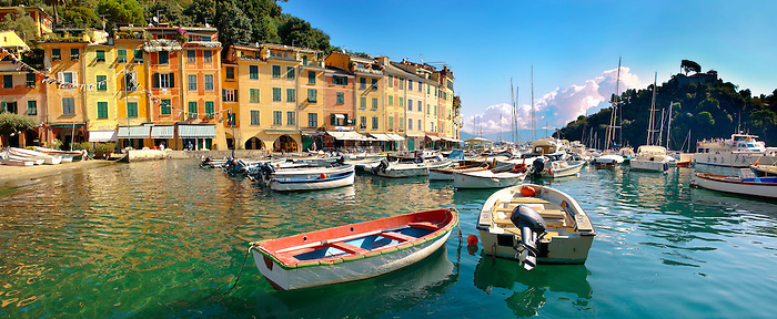 Harbour of Portofino . fashionable seaside fishing village for the wealthy .  Ligurian Coast. Italy
