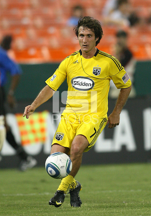 Guillermo Barros Schelotto #7 of the Columbus Crew during a US Open Cup semi final match against D.C. United at RFK Stadium on September 1 2010, in Washington DC. Columbus won 2-1 aet.