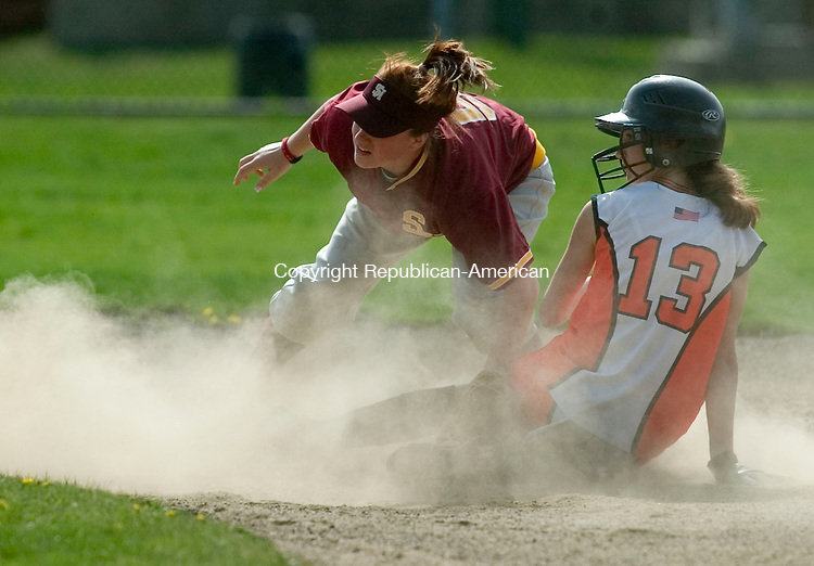 WATERBURY, CT- 25 APRIL 2008- 042508JT07-<br /> Watertown's Nicole LaRosa slides safely into second  as Sacred Heart's Taylor DeVico tries to defend the base during Friday's game at Municipal Stadium.<br /> Josalee Thrift / Republican-American