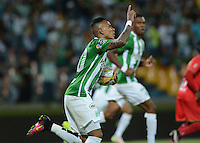MEDELLÍN -COLOMBIA - 24-09-2016: Arley Rodriguez de Atlético Nacional celebra después de anotar un gol a Cortulúa durante partido por la fecha 14 de la Liga Águila II 2016 jugado en el estadio Atanasio Girardot de la ciudad de Medellín./ Arley Rodriguez payer of Atletico Nacional celebrates after scoring a goal to Cortulua during match for the date 14 of the Aguila League II 2016 at Atanasio Girardot stadium in Medellin city. Photo: VizzorImage/León Monsalve/STR