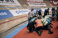 The madison race needed to be stopped &amp; neutralised after 3 riders crashed.  <br /> Cameron Meyer (AUS) was hit the hardest and needed to be taken to hospital for examination; luckely for him he was able to leave the hospital that same night.<br /> <br /> Ghent 6day<br /> Belgium 2017