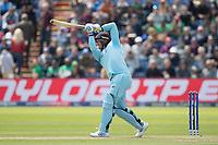 Jason Roy (England) drives Mustafizur Rahman (Bangladesh)  over long off for a straight six during England vs Bangladesh, ICC World Cup Cricket at Sophia Gardens Cardiff on 8th June 2019