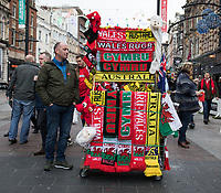 A street vendor selling match memorabilia on the high street<br /> <br /> Photographer Simon King/CameraSport<br /> <br /> International Rugby Union - 2017 Under Armour Series Autumn Internationals - Wales v Australia - Saturday 11th November 2017 - Principality Stadium - Cardiff<br /> <br /> World Copyright &copy; 2017 CameraSport. All rights reserved. 43 Linden Ave. Countesthorpe. Leicester. England. LE8 5PG - Tel: +44 (0) 116 277 4147 - admin@camerasport.com - www.camerasport.com
