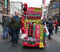 A street vendor selling match memorabilia on the high street<br /> <br /> Photographer Simon King/CameraSport<br /> <br /> International Rugby Union - 2017 Under Armour Series Autumn Internationals - Wales v Australia - Saturday 11th November 2017 - Principality Stadium - Cardiff<br /> <br /> World Copyright &copy; 2017 CameraSport. All rights reserved. 43 Linden Ave. Countesthorpe. Leicester. England. LE8 5PG - Tel: +44 (0) 116 277 4147 - admin@camerasport.com - www.camerasport.com