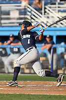 Newark Pilots, of the Perfect Game Collegiate Baseball League, outfielder Ben Bostick #1 at bat during an exhibition game against the Batavia Muckdogs at Dwyer Stadium on June 15, 2012 in Batavia, New York.  Batavia defeated Newark 8-0.  (Mike Janes/Four Seam Images)