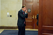 United States Senator Richard Blumenthal (Democrat of Connecticut) speaks on his cell phone outside the room where he and his colleagues on the US Senate Judiciary Committee are questioning Donald J. Trump, Jr. on his involvement with the Russians in relation to the Presidential Election in 2016.<br /> Credit: Ron Sachs / CNP<br /> (RESTRICTION: NO New York or New Jersey Newspapers or newspapers within a 75 mile radius of New York City)