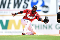 Nashville Sounds second baseman Irving Falu (19) takes a throw on a steal attempt during a game against the Omaha Storm Chasers on May 20, 2014 at Herschel Greer Stadium in Nashville, Tennessee.  Omaha defeated Nashville 4-1.  (Mike Janes/Four Seam Images)