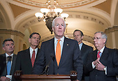 United States Senate Majority Whip John Cornyn (Republican of Texas) makes remarks following the Republican Party policy luncheon in the US Capitol in Washington, DC on Tuesday, January 23, 2018.  Pictured from left to right: US Senator Cory Gardner (Republican of Colorado), US Senator John Barrasso (Republican of Wyoming), Senator Cornyn, US Senator John Thune (Republican of South Dakota), and US Senate Majority Leader Mitch McConnell (Republican of Kentucky).<br /> Credit: Ron Sachs / CNP