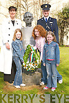 COMMEMORATE: Giving Norma Foley (Mayor of Tralee) and Supt Pat Sullivan a helping hand in laying a wreath in memory of the 1916 Rising at Pairc an Phiarsaigh, Tralee, on Sunday were Kate and Niamh Grilly and Jillian Conway..