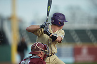 Daniel Walsh (19) of the Western Carolina Catamounts at bat against the Saint Joseph's Hawks at TicketReturn.com Field at Pelicans Ballpark on February 23, 2020 in Myrtle Beach, South Carolina. The Hawks defeated the Catamounts 9-2. (Brian Westerholt/Four Seam Images)