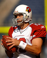 Sep 25, 2005; Seattle, WA, USA; Arizona Cardinals quarterback #13 Kurt Warner warms up before his game against the Seattle Seahawks at Qwest Field. Mandatory Credit: Photo By Mark J. Rebilas