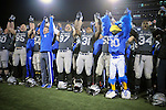 November 12, 2016 - Colorado Springs, Colorado, U.S. -  Air Force Academy players and their mascot, The Bird, celebrate their victory over the CSU Rams following the NCAA Football game between the Colorado State University Rams and the Air Force Academy Falcons, Falcon Stadium, U.S. Air Force Academy, Colorado Springs, Colorado.  Air Force defeats Colorado State 49-46.