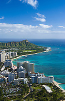 Aerial view of Waikiki Beach from Fort DeRussy to Diamond Head