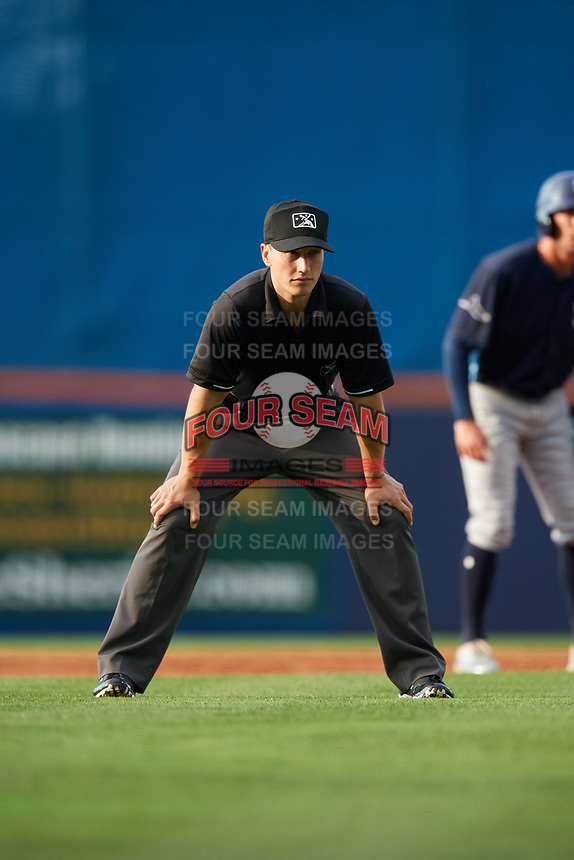 Umpire Brandon Mooney during the first game of a doubleheader between the Charlotte Stone Crabs and the St. Lucie Mets on April 24, 2018 at First Data Field in Port St. Lucie, Florida.  St. Lucie defeated Charlotte 5-3.  (Mike Janes/Four Seam Images)