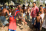 "PHARASPAL, DANTEWARA DISTRICT, CHHATTISGARH, INDIA, FEBRUARY 26, 2008 :  Malai festival in Pharaspal, a village of Dantewara district in the state of Chhattisgarh. The southern region of Chhattisgarh is part of India's tribal belt and three fourth of the population are tribal, mainly from the Gond tribe and sub-tribes. They live in villages throughout the region, in the mountain, the jungle, and have preserved their traditional way of life and traditions by being isolated from India's march forward. In this area, the Maoist insurgency called Naxalites have been waging a war against the government for the past 25 years and has been gaining momentum in in the past few years. They are present in some 150 of the 600 districts of India, and Dantewara is one of Chhattisgarh rural Maoist stronghold where they control most of the countryside. The overwhelmed police force is hiring more personel to deal with the Naxalite threat and the Government has armed civil defence anti-naxalite milicias to take on the naxalites , emptying villages to cut local support to the rebels. The movement called ""Salwa Judum"" (campaign for peace)  started in june 2005 when some villages took a stand against the Maoists, but it is now dragging the whole district into the bloody civil war, at the expense of the  local tribal villagers caught in the middle and forced to leave their ancestral homes for the security of refugee camps. The conflict has claimed over 900 lives in 2006 and again in 2007, and some 50 to 60,000 people live in makeshift camps, protected by the Salwa Judum and the police force. But for the tribals who do not want to leave their home and villages, there are no government services available, meaning no health care or education for the children. They live in complete isolation from the rest of India. (Photo by Jean-Marc Giboux/ GettyImages)"